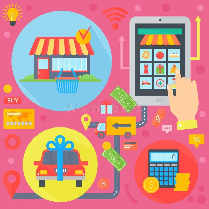 Online zakupy, mobilny marketing i cyfrowe marketingowe infographics szablonu ikony w okręgu projekcie, sieć chodnikowiec E royalty ilustracja