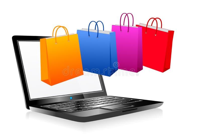 Online zakupy na internecie, laptopie i torba na zakupy, ilustracja wektor