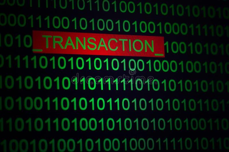 Online zakupy ochrona, transakcji cyfrowanie Formułuje transakcję w binarnym kodzie zielony kolor na czarnym tle fotografia stock