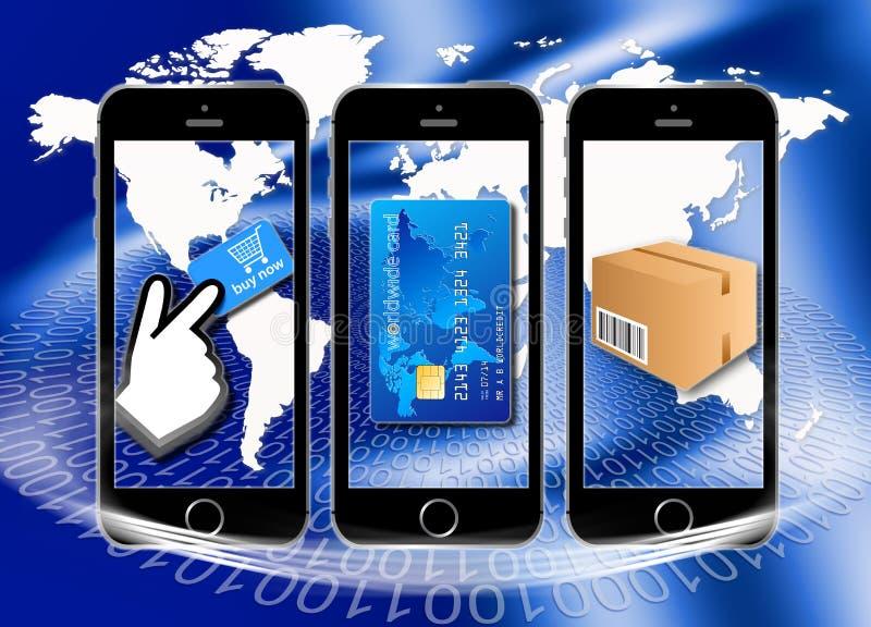 Online zakupy płacić, dostawa i ilustracja wektor