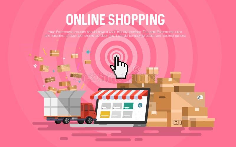 Online zakupy pojęcia desktop royalty ilustracja