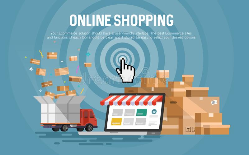 Online zakupy pojęcia desktop ilustracji