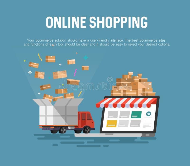 Online zakupy pojęcia desktop ilustracja wektor