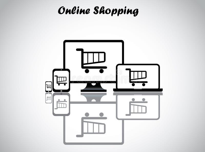 Online zakupy pojęcia projekta wektoru ilustracja ilustracji