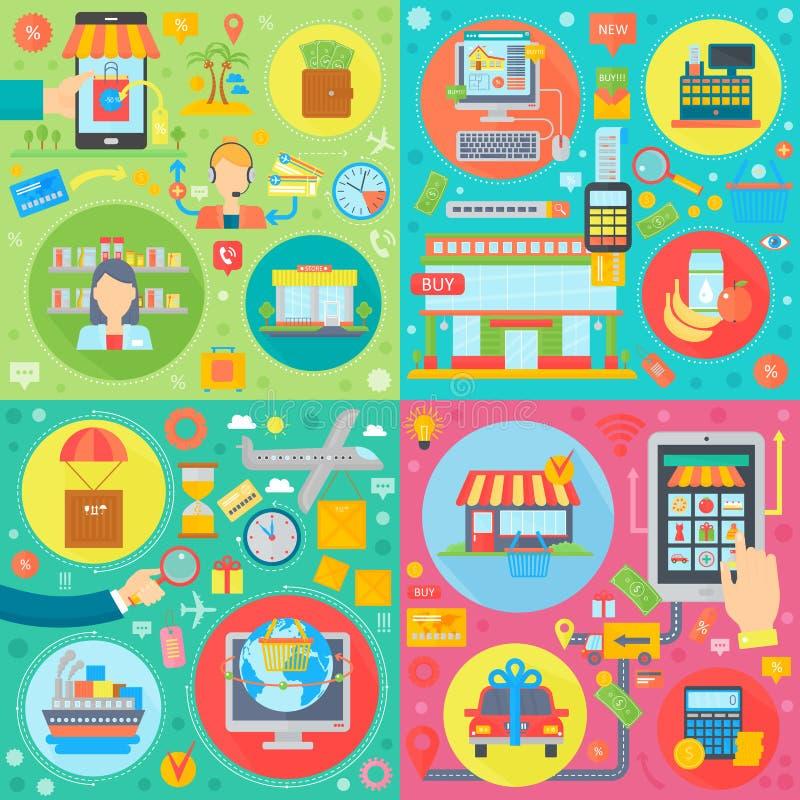 Online zakupy pojęcia szablony ustawiający Mobilne zakupy przemysłu usługi, mobilne cyfrowe marketingowe wektorowe ilustracje ilustracji