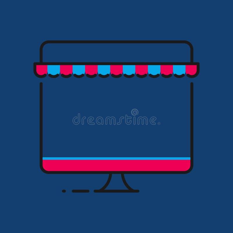Online zakupy pojęcie komputer osobisty kreskowa sztuka Online sklep ilustracji wektor royalty ilustracja