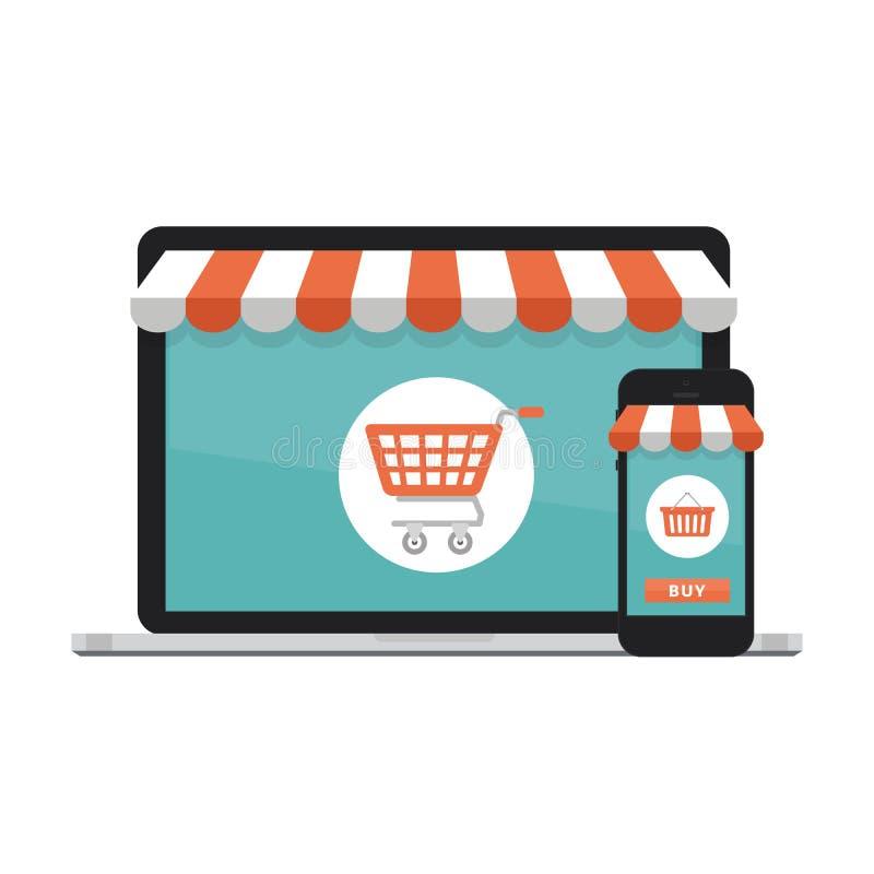 Online zakupy pojęcie Otwarty laptop z parawanowym zakupem Mieszkanie styl, wektorowa ilustracja ilustracji