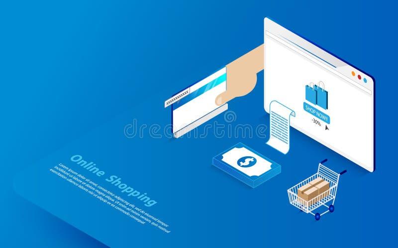 Online zakupy pojęcie Płaski i isometric stylowy projekt ilustracji