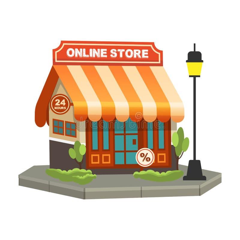Online zakupy pojęcie Sklepowego linia Płaskiego projekta wektorowy ilustracyjny pojęcie dla online sklepu royalty ilustracja