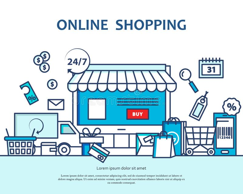 Online zakupy pojęcie z zakupu i dostawy ikonami Sztandar dla strony internetowej lub magazne Chodnikowiec, plakat, ulotki tło ilustracji