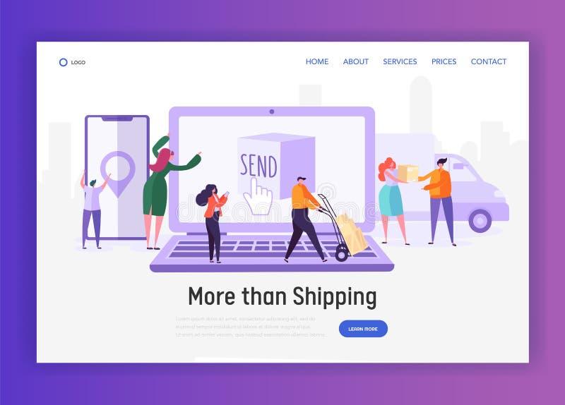 Online zakupy postu Na całym świecie wysyłki usługi pojęcia lądowania strona Ludzie charakterów Wysyłają pakunek i Otrzymywają ilustracji
