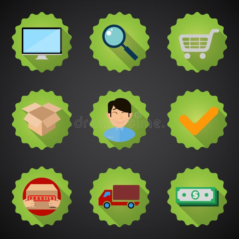 Online zakupy procesu ikony płaski set ilustracji