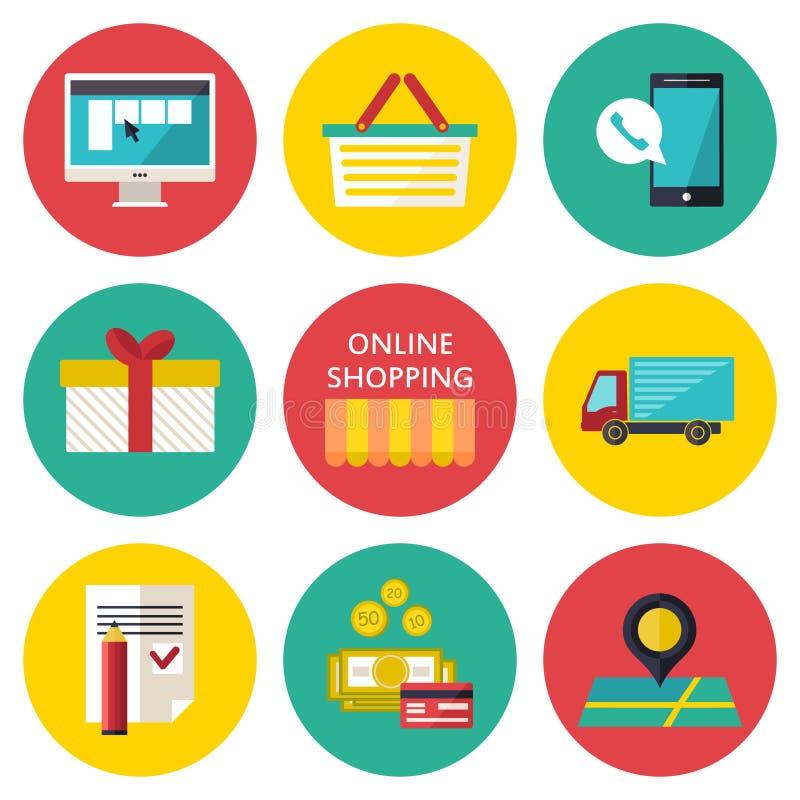 Online zakupy procesu pojęcie Wektorowa ilustracja biznesowy sieć handel royalty ilustracja