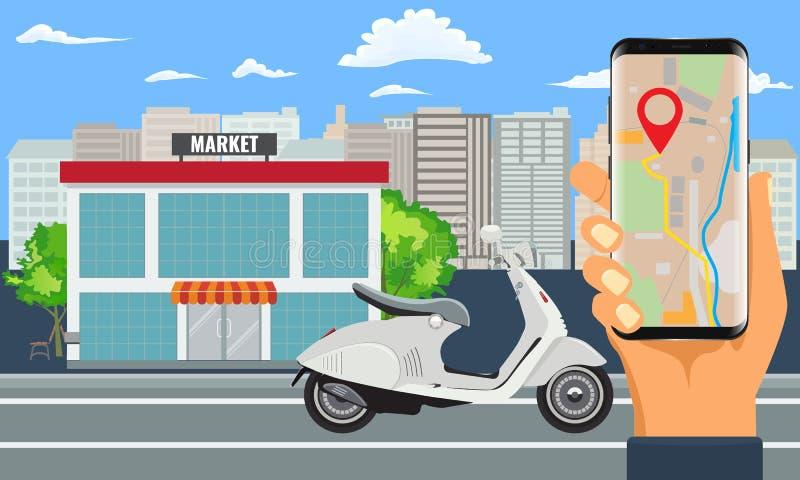 Online zakupy rozkaz, dostawa z motocyklem, hulajnoga lub miasto krajobrazem i ilustracji