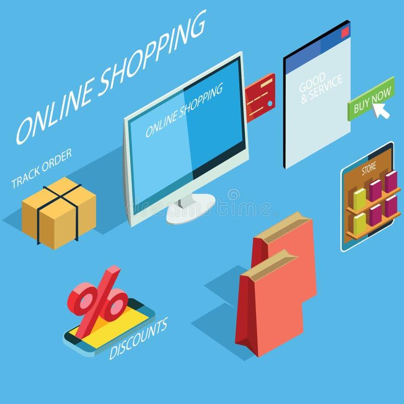 Online zakupy rynek ilustracja wektor