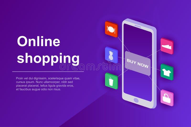 Online zakupy sieci sztandar Pojęcie online sklep z isometric smartphone 3d ecommerce strony internetowej strona wektor royalty ilustracja