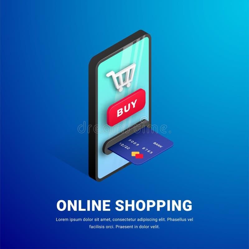 Online zakupy sieci sztandaru pojęcia tekst ilustracja wektor