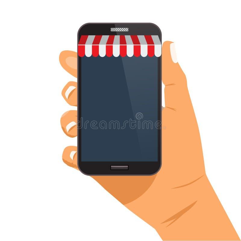 Online zakupy sprzedaży pojęcia ręki mienia smartphone wektoru ilustracja royalty ilustracja