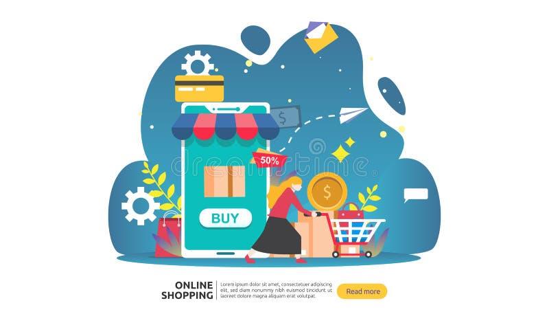 Online zakupy sztandar Biznesowy poj?cie dla sprzeda? handlu elektronicznego z smartphone i malutkimi lud?mi charakter?w szablon  royalty ilustracja