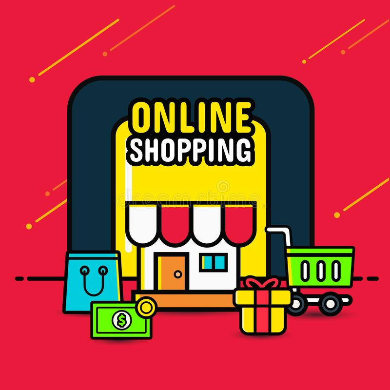 Online zakupy sztandaru pojęcia wisząca ozdoba, ikona styl na czerwonym tle zdjęcie stock