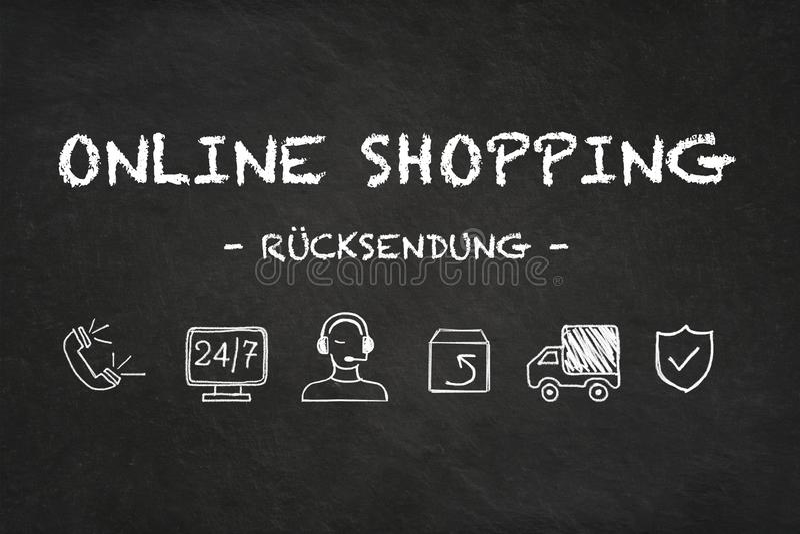 Online zakupy tekst i ikony na kredowej deski tle «RÃ ¼ cksendung « Przekład: «powrót « royalty ilustracja