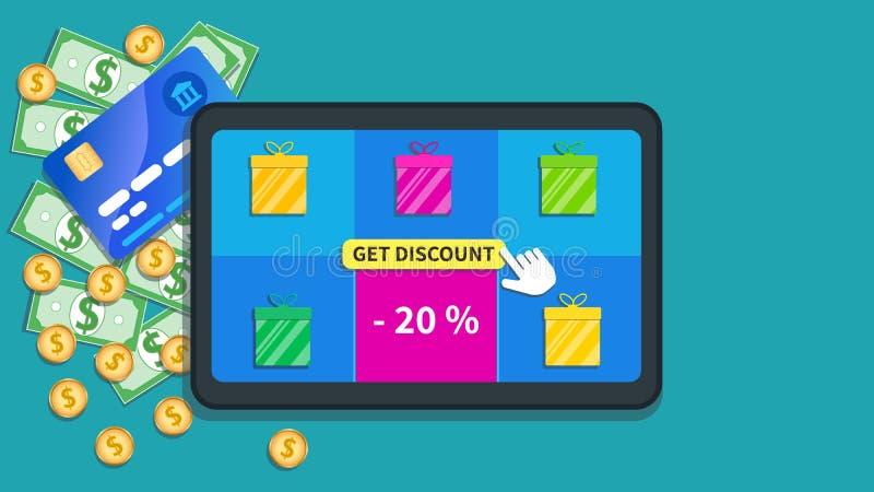 Online zakupy transakcje Płaska pastylka z prezentów pudełek ikoną, oferty specjalnej sprzedaż 20% i kursoru stuknięcie, daleko d royalty ilustracja