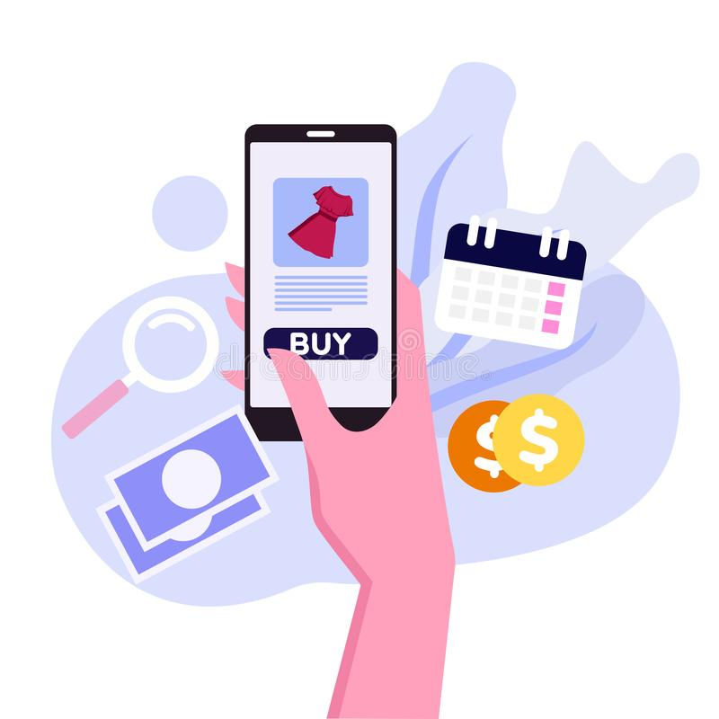 Online zakupy transakcje z smartphone wektorem ilustracji