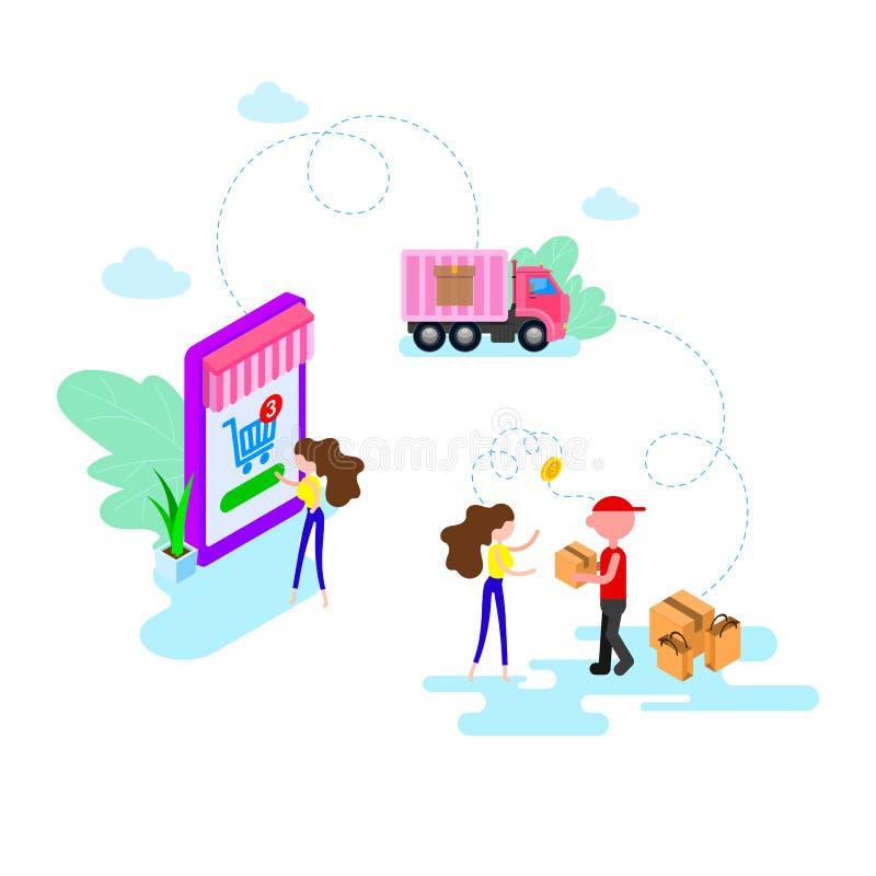 Online zakupy w online sklepie przez mobilnego smartphone zastosowania mieszkania stylowy nowo?ytny jab?czaka jaskrawy g?sienicow ilustracji