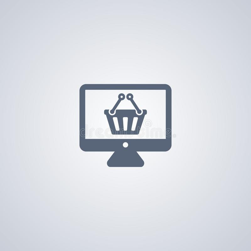 Online zakupy, wektorowa najlepszy płaska ikona royalty ilustracja