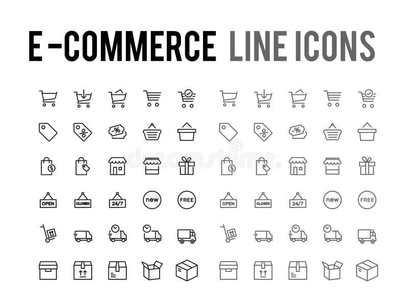 Online zakupy wektoru linii ikona app i mobilna sieć wyczuleni - ilustracja wektor