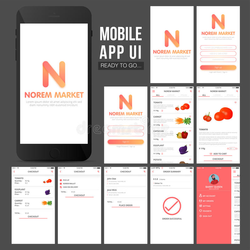 Online zakupy wiszącej ozdoby App UI projekt ilustracji