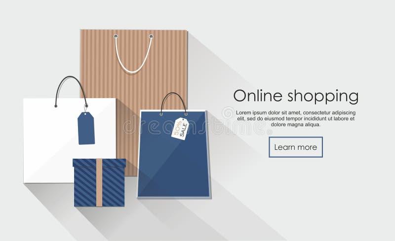 Online zakupy z grupą torba na zakupy royalty ilustracja