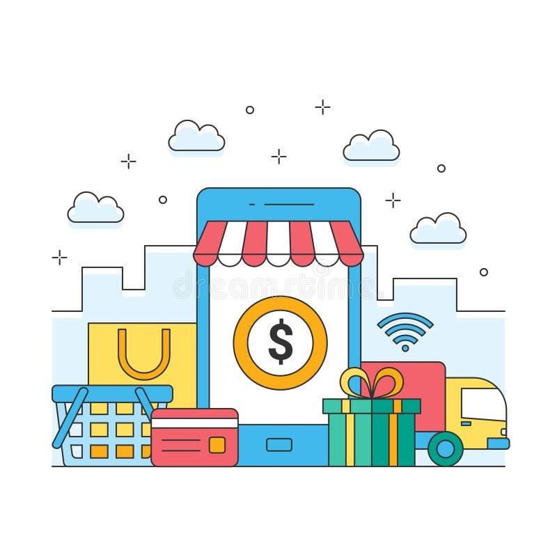 Online zakupy z wiszącą ozdobą, biznesowego ecommerce globalna wysyłka royalty ilustracja