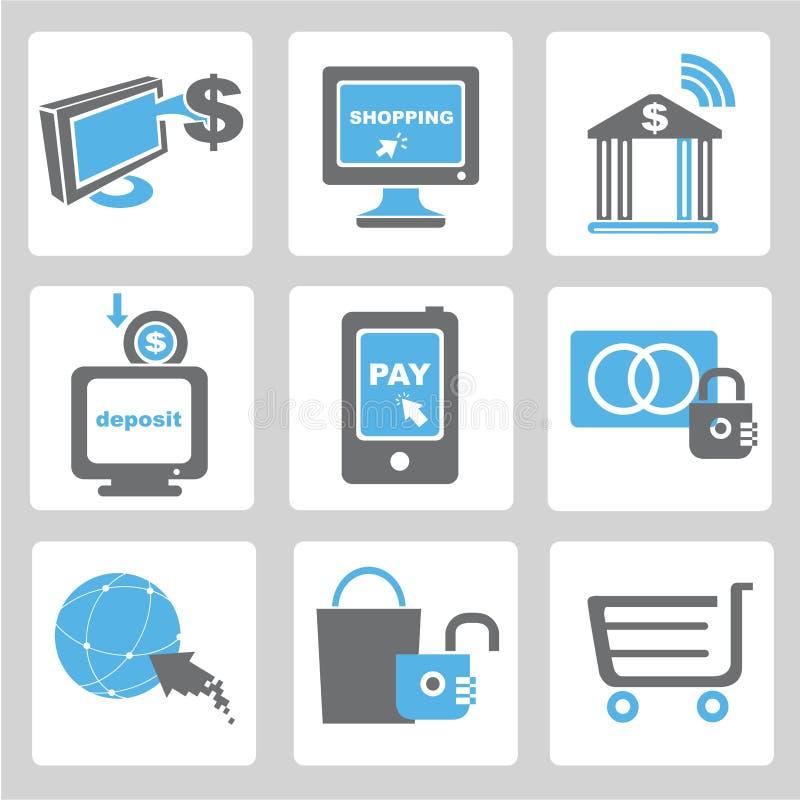 Online zapłata, online zakupy ikony ilustracji