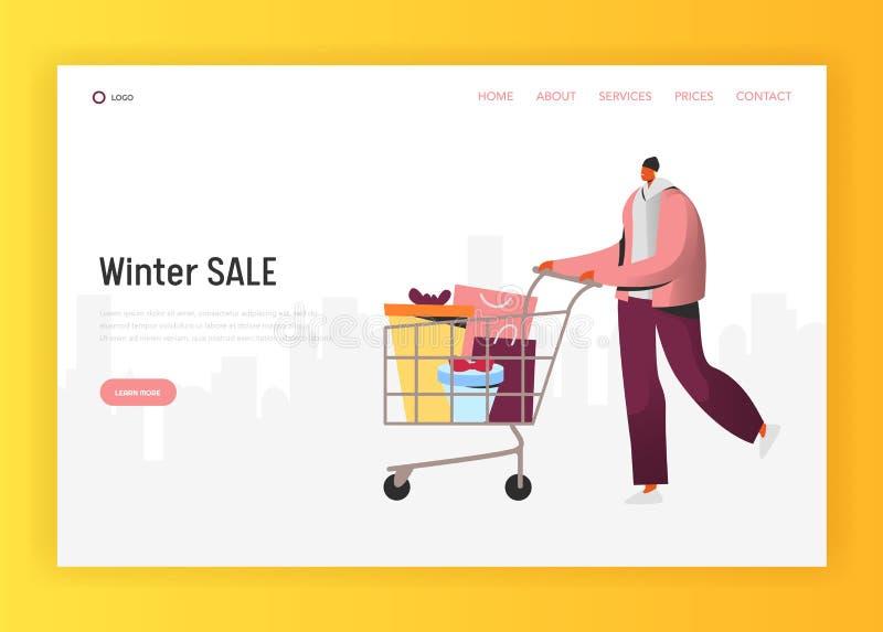 Online zimy sprzedaży ilustracja dla lądować stronę, mężczyzna robi wakacji zakupom, pcha wózek na zakupy z prezentami ilustracja wektor
