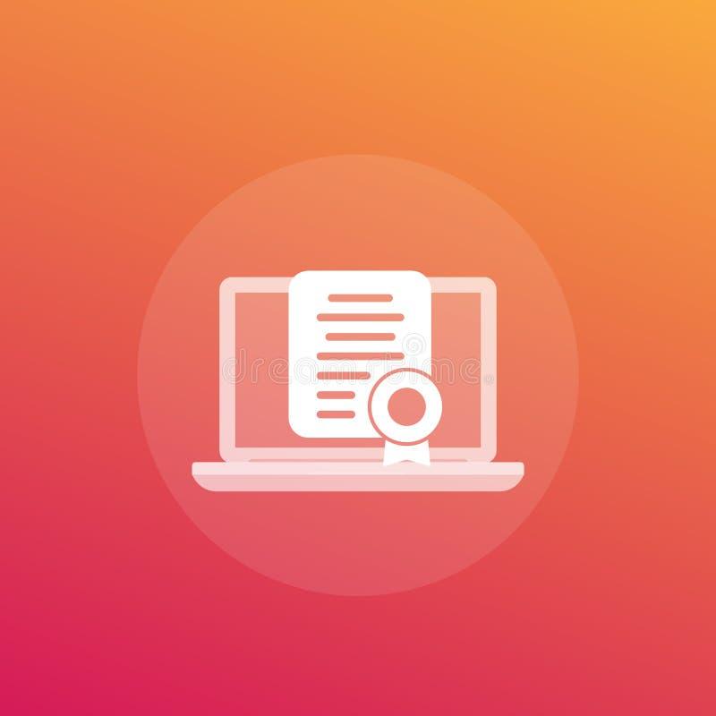 Onlinecertifiering, ikon för certifikatvektor royaltyfri illustrationer