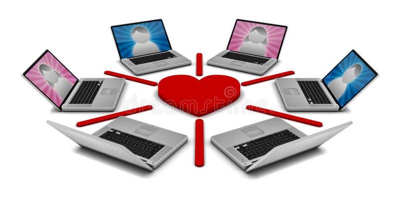 Onlinedatierungs-Netz Stockfoto