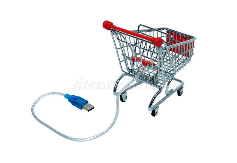 Onlineeinkaufenprüfungswagen lizenzfreie stockfotografie