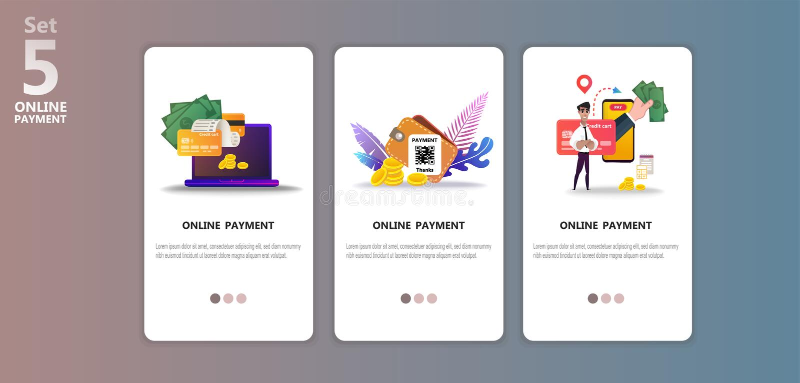 Onlinego płatniczego pojęcia app ilustracyjny templete ilustracja wektor