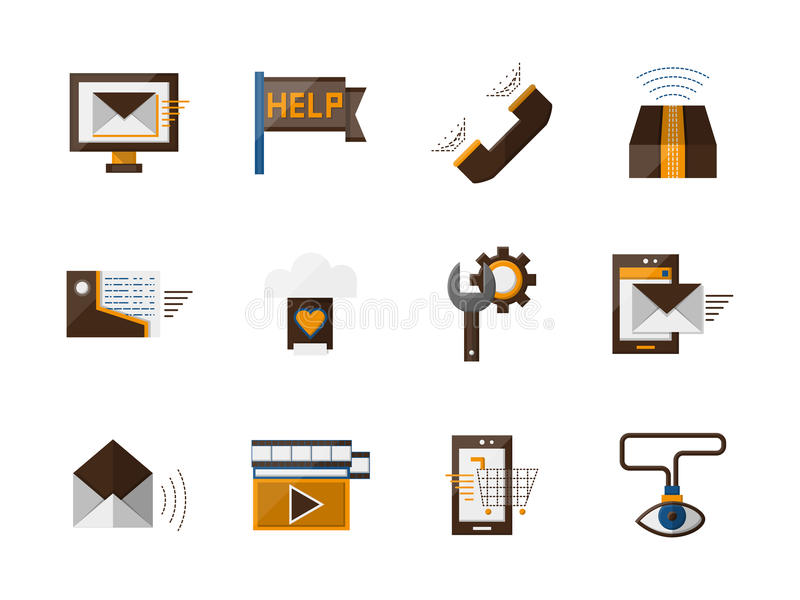 Onlinego poparcia koloru płaskie ikony ustawiać ilustracji