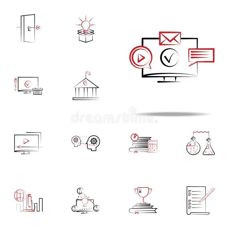 onlinego szkolenia i kursów ikona Edukacj ikon ogólnoludzki ustawiający dla sieci i wiszącej ozdoby ilustracji