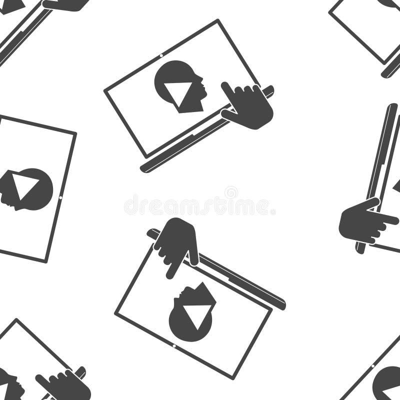 onlinego szkolenia ikona Daleki sieci szkolenie Symbol online uczenie, webinar bezszwowy wzór na białym tle royalty ilustracja