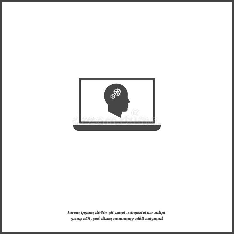 onlinego szkolenia ikona Daleki sieci szkolenie Symbol online uczenie, webinar na białym odosobnionym tle royalty ilustracja