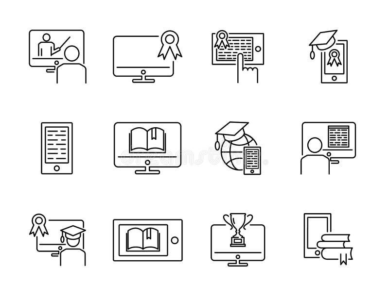 Onlinego szkolenia ikony kolekci wektorowy ilustracyjny set Dystansowy interneta e uczenie pojęcie z komputerem, pastylką lub tel ilustracja wektor