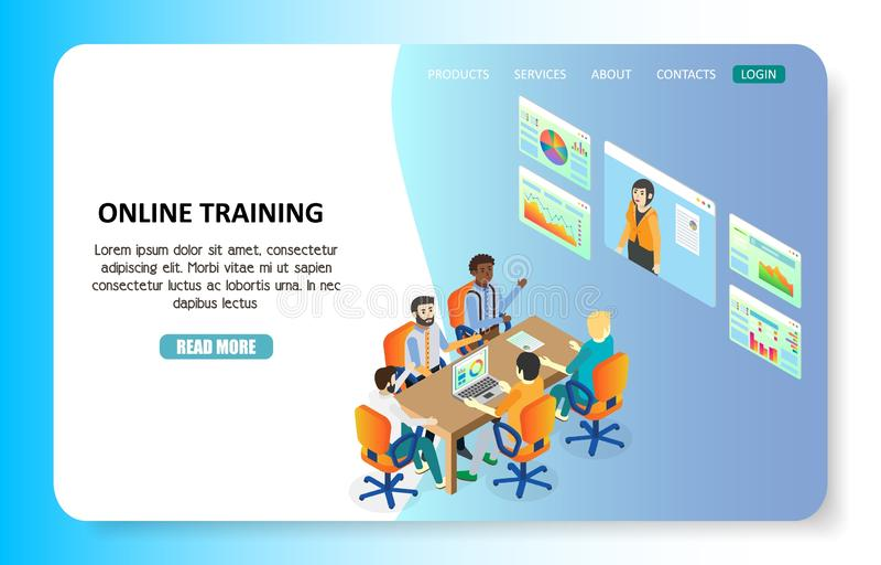 Onlinego szkolenia lądowania strony strony internetowej wektoru szablon royalty ilustracja