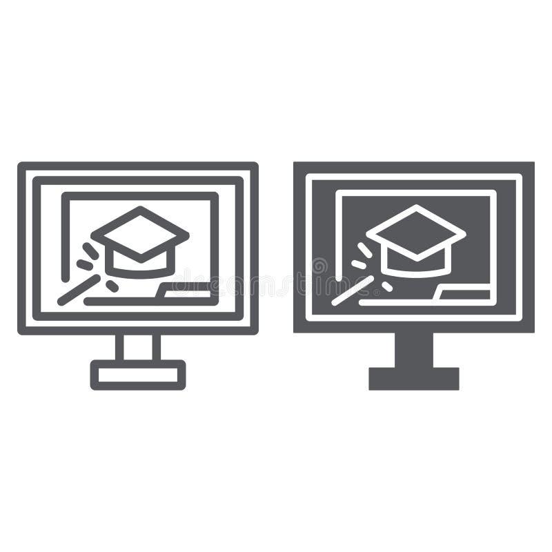 Onlinego szkolenia linia, glif ikona, edukacja, nauka, skalowanie nakrętka i laptop, podpisujemy, wektorowe grafika, liniowy royalty ilustracja