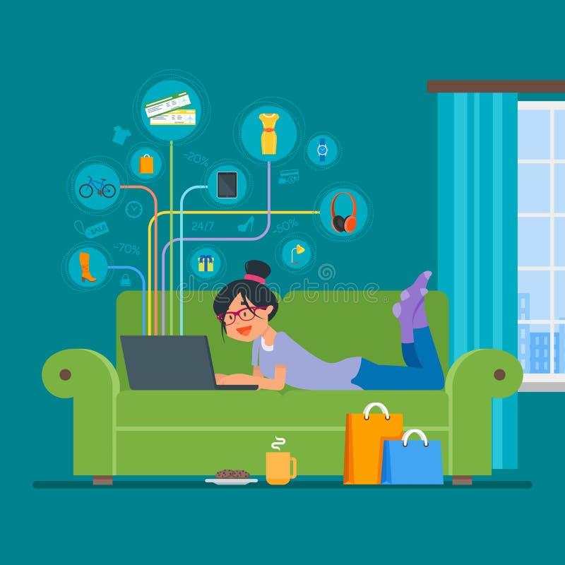 Onlinego zakupy pojęcia mieszkania stylu wektorowy ilustracyjny projekt Dziewczyna sklep na internecie zostaje w domu royalty ilustracja