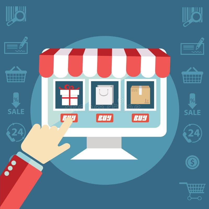 Onlinego zakupy procesu strony internetowej rzeczy zakupu stuknięcia wynagrodzenia nowożytnego projekta pojęcia wektoru płaska ik ilustracja wektor
