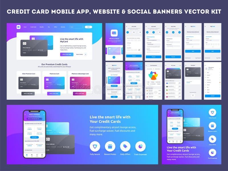 Onlinego zapłaty lub kart kredytowych app ui zestaw ilustracja wektor