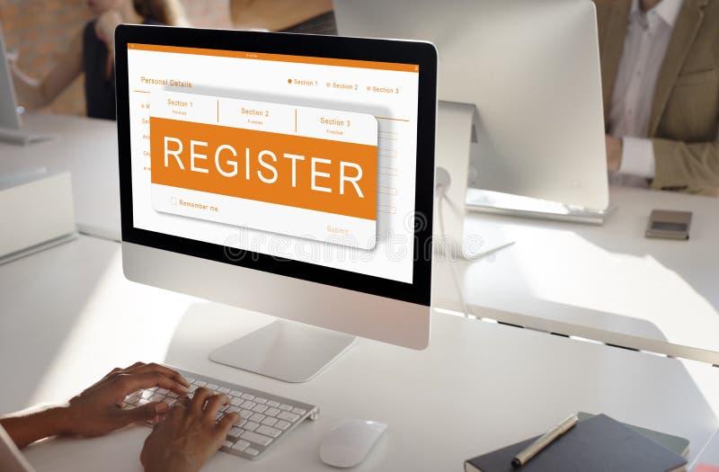 Onlinego zastosowania Rejestracyjnej formy grafika pojęcie zdjęcia royalty free